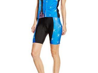 Freefisher, Set di maglia a maniche corte e pantaloncini da ciclismo Donna, Blu (Katze Blau), M